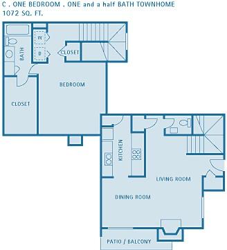 1,072 sq. ft. CEDAR floor plan