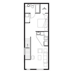 608 sq. ft. Studio Grand Overlook (2nd) floor plan
