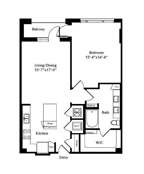 867 sq. ft. A4E floor plan