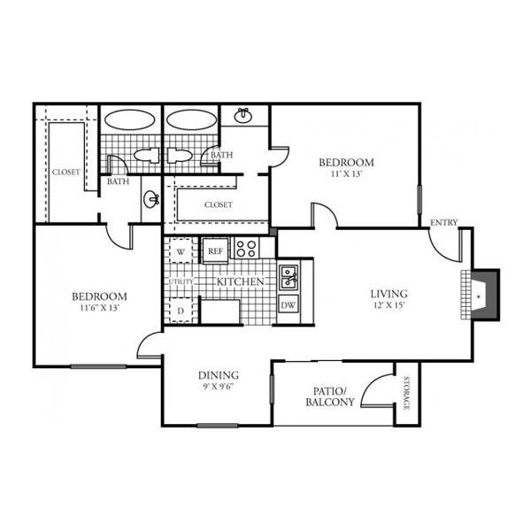 975 sq. ft. D floor plan
