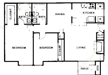 966 sq. ft. B floor plan