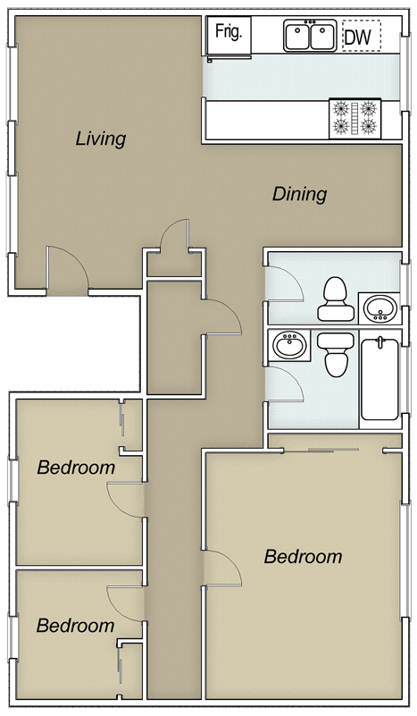 1,275 sq. ft. Spencer/60% floor plan