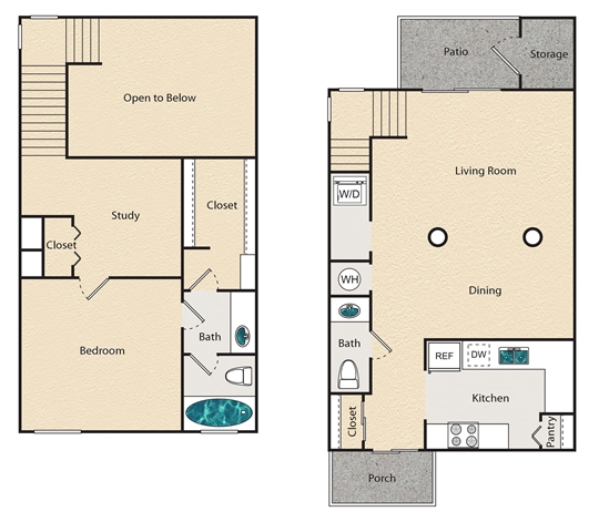 1,056 sq. ft. K - Townhome floor plan