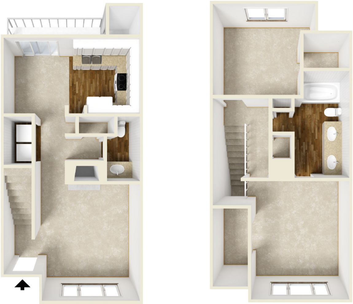 1,033 sq. ft. B3 floor plan