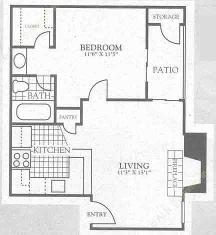 659 sq. ft. 2A2 floor plan