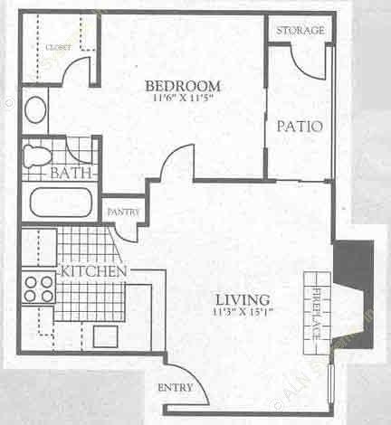 659 sq. ft. 2A2 floor plan