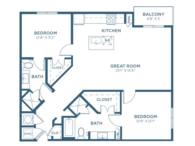 1,200 sq. ft. B4 floor plan