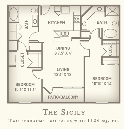1,124 sq. ft. Sicily floor plan