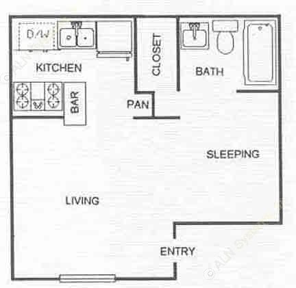 505 sq. ft. EFF floor plan
