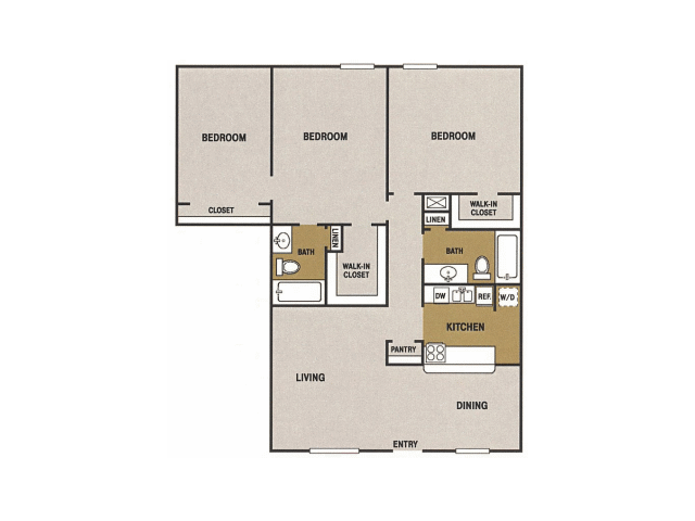 1,204 sq. ft. P floor plan