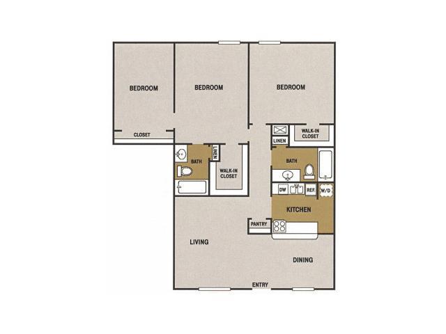 1,204 sq. ft. P floor plan