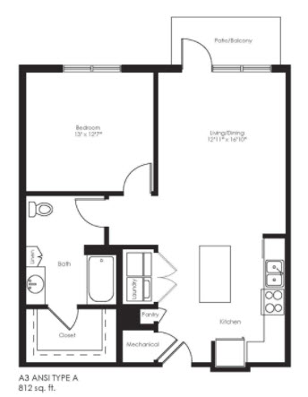 805 sq. ft. A3A Ansi floor plan