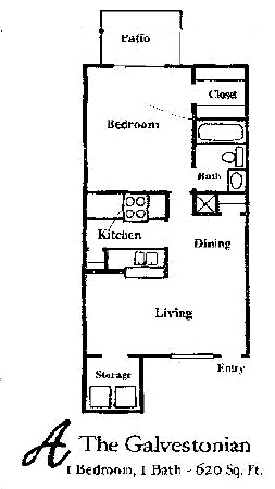 620 sq. ft. GALVESTOHNIAN floor plan
