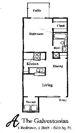 620 sq. ft. GALVESTOHNIAN floor plan