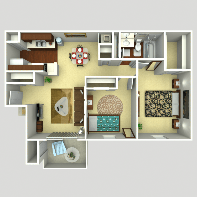 824 sq. ft. B1 floor plan