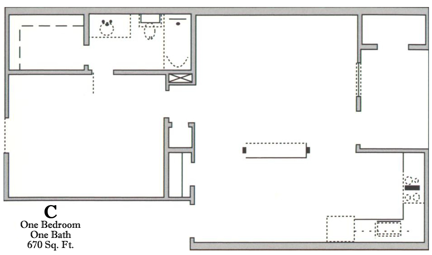 670 sq. ft. C/60 floor plan