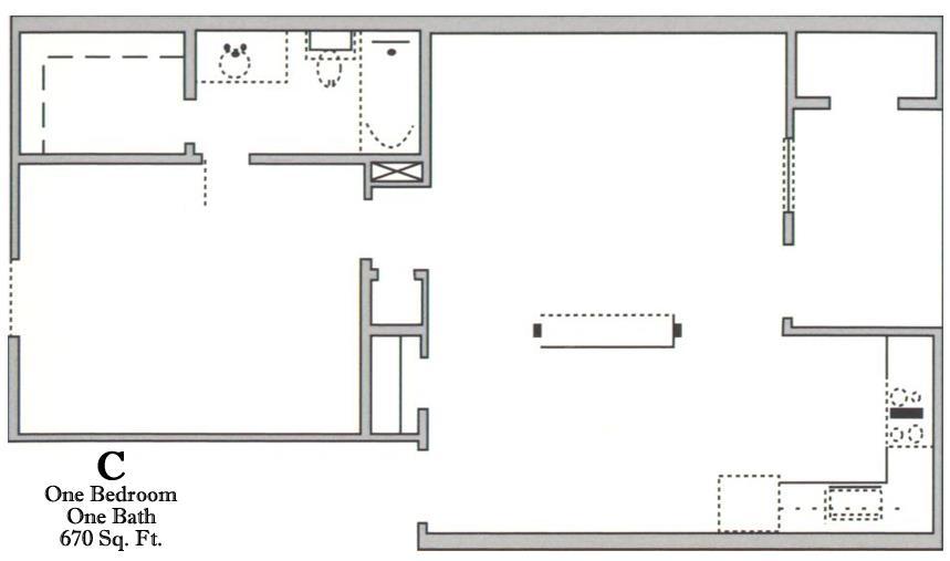 670 sq. ft. C/60% floor plan