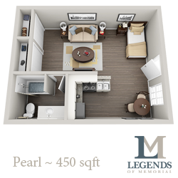 450 sq. ft. Pearl floor plan