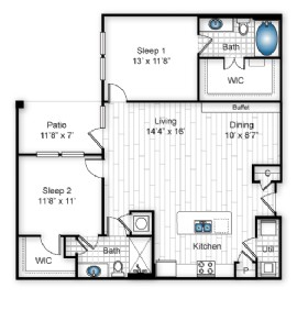 1,134 sq. ft. B2 floor plan