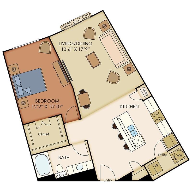 951 sq. ft. A9 floor plan
