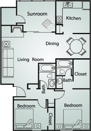 1,159 sq. ft. B2 floor plan