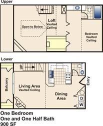 900 sq. ft. C floor plan