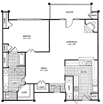 1,073 sq. ft. A2 floor plan