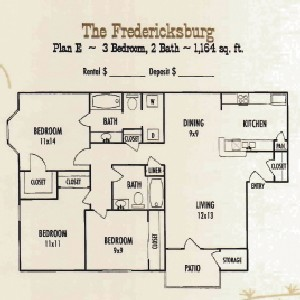 1,164 sq. ft. C1 floor plan