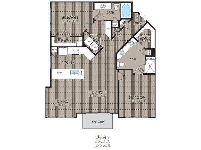 1,276 sq. ft. Warren floor plan