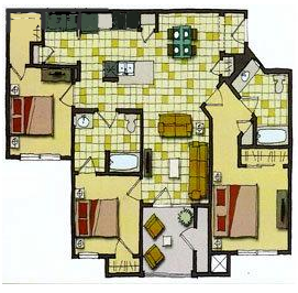 1,160 sq. ft. 60% floor plan