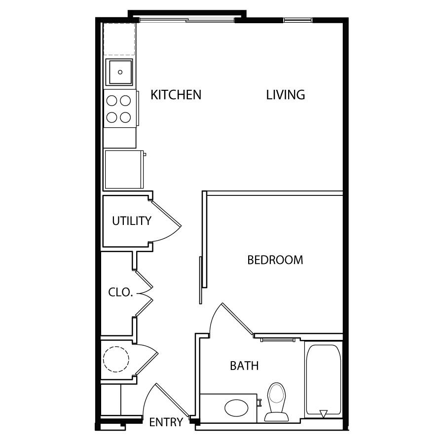 447 sq. ft. E2-1 floor plan