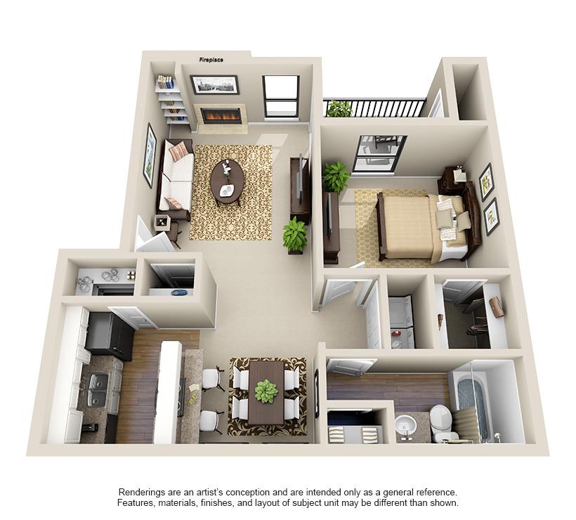 734 sq. ft. A2 floor plan