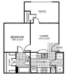 532 sq. ft. Guadalupe floor plan