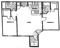 1,002 sq. ft. 60% floor plan