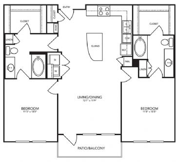 1,099 sq. ft. B3 floor plan