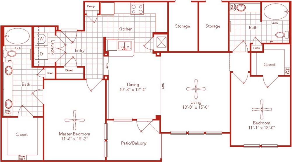 1,301 sq. ft. Southmore floor plan