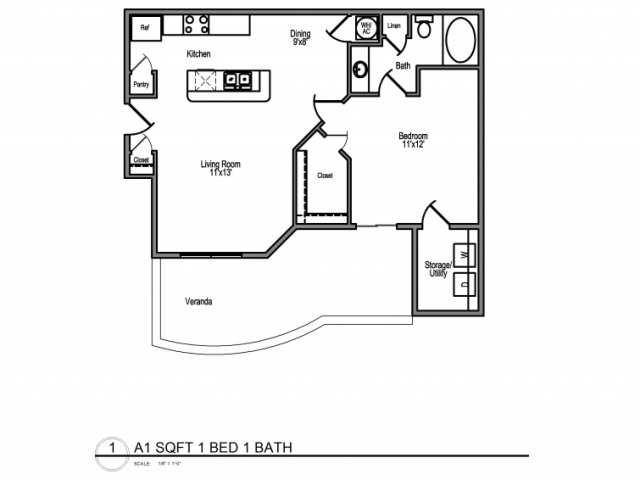 688 sq. ft. A floor plan