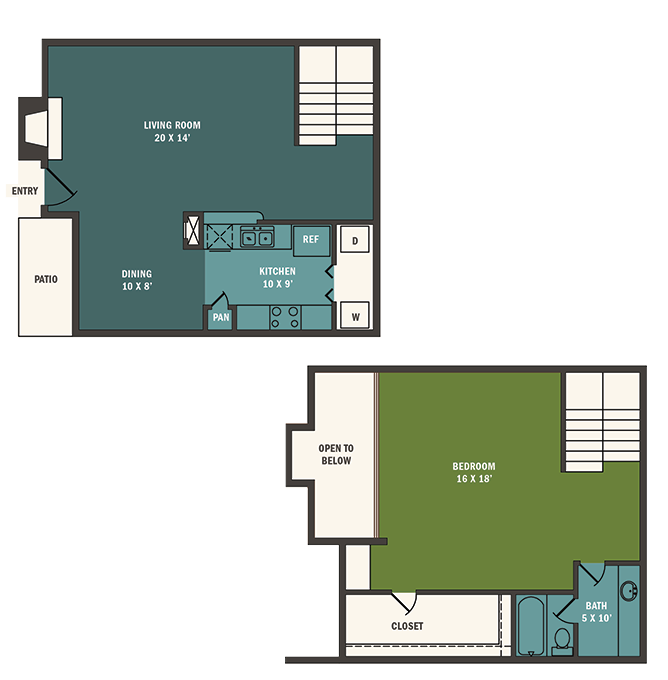 818 sq. ft. A5 floor plan