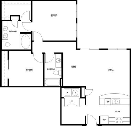 1,146 sq. ft. B6E-II floor plan