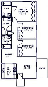 1,048 sq. ft. Ranch/50% floor plan