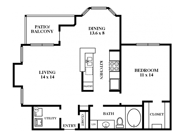 826 sq. ft. Chestnut Oak floor plan
