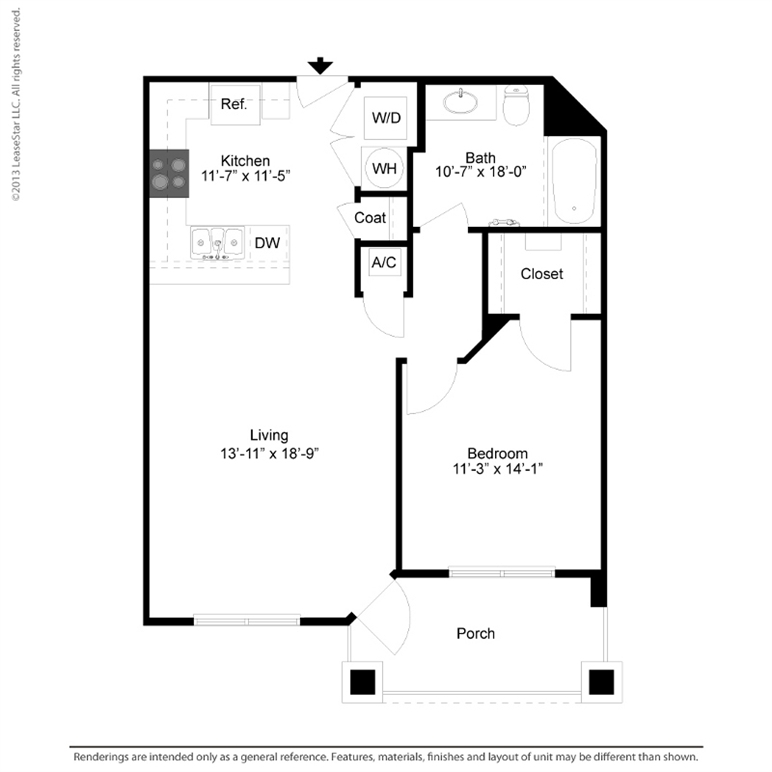 763 sq. ft. A1 floor plan