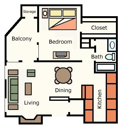 708 sq. ft. 1E10 floor plan