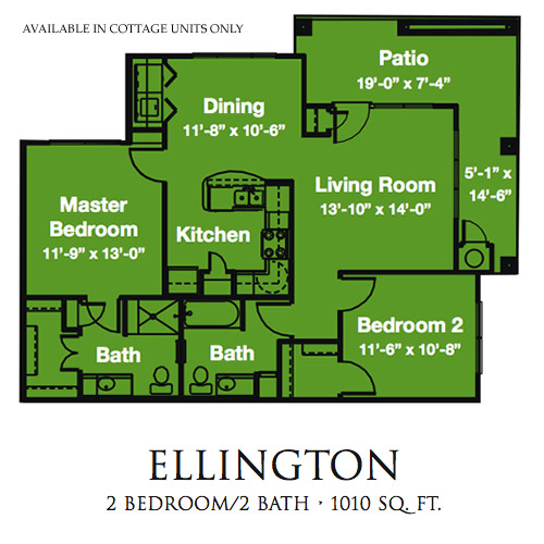 1,010 sq. ft. Ellington/60% floor plan