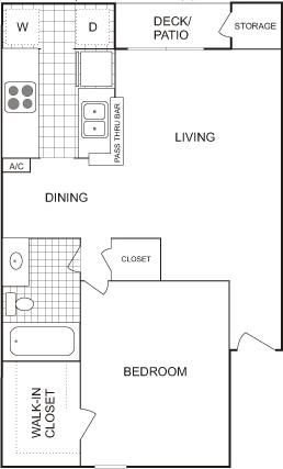 656 sq. ft. Small floor plan