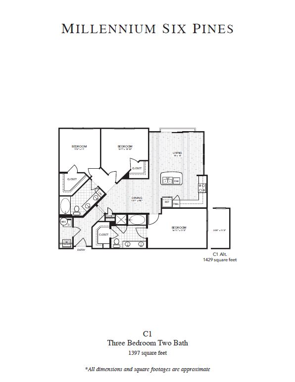 1,429 sq. ft. C1 Alt floor plan