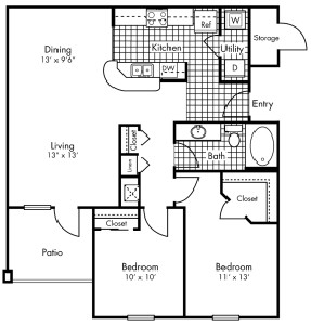983 sq. ft. B1 floor plan