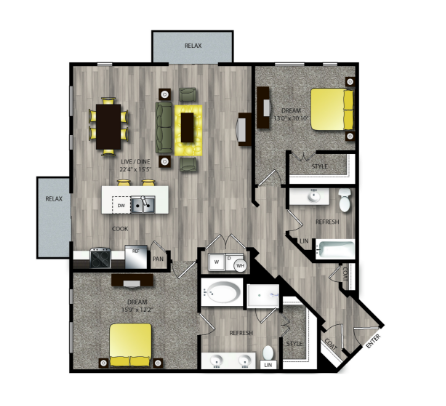1,343 sq. ft. B4 floor plan