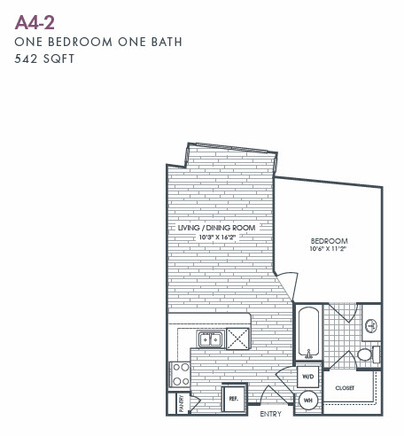 542 sq. ft. A4-2 floor plan
