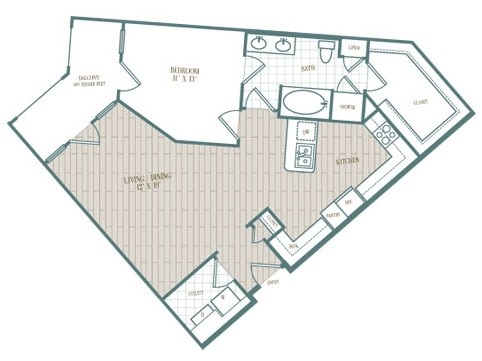 903 sq. ft. Palmero floor plan